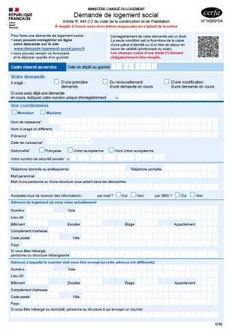 Nouveau formulaire de demande de logement social (CERFA V4)